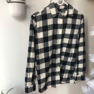 Uniqlo navy gingham plaid flannel shirt Xs